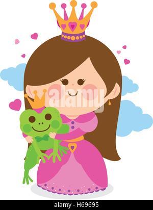 Schöne Prinzessin hält einen magischen Frosch Prinz. - Stockfoto
