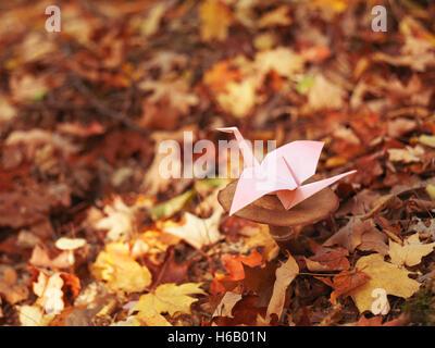 Origami Papier Kran sitzt auf einem Pilz im Herbst Natur Landschaft - Stockfoto