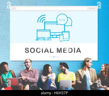 Social-Media-Geräte-Internet-Konzept - Stockfoto