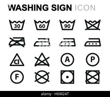 satz von waschen symbole w sche icons isoliert auf wei em hintergrund stockfoto bild. Black Bedroom Furniture Sets. Home Design Ideas