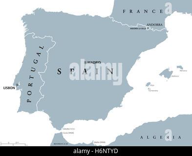 politische landkarte portugal mit hauptstadt lissabon und nachbarl ndern republik auf der. Black Bedroom Furniture Sets. Home Design Ideas