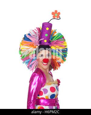 Lustiges Mädchen Clown isoliert auf weißem Hintergrund - Stockfoto