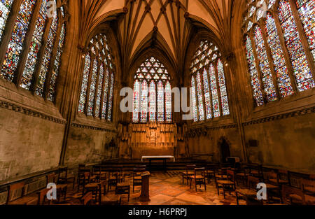 Glasfenster, die Marienkapelle, Wells cathedral - Stockfoto