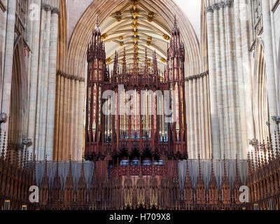 Orgel, York Minster, England - Stockfoto
