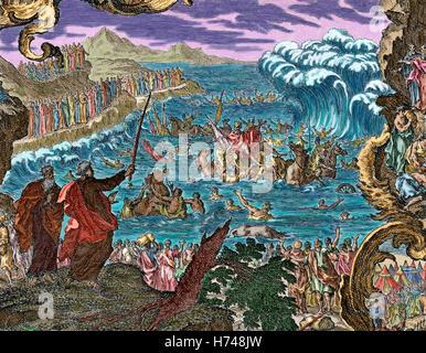Abschied von den Gewässern des Roten Meeres. Das Buch Exodus. Kapitel 15, Vers 1. Gravur. Farbige. - Stockfoto