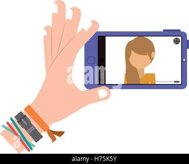 menschliche Hand mit bunten Armbänder weißen Hintergrund eine Foto Selfie mit Smartphone-Gerät übernehmen. Vektor - Stockfoto
