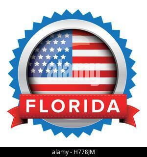 Florida und USA Flagge-Abzeichen-Vektor - Stockfoto