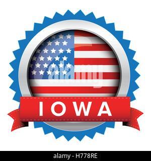 Iowa und USA Flagge-Abzeichen-Vektor - Stockfoto