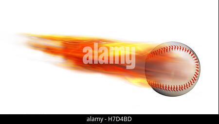 Homerun-Baseball auf Feuer schnell fliegen. - Stockfoto