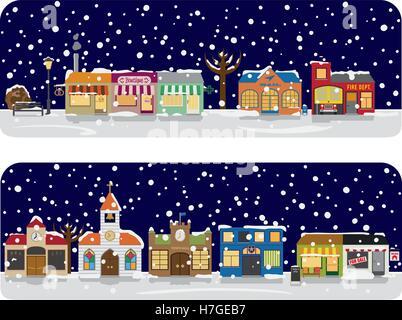 Kleinstadt Hauptstraße mit Geschäften, Kirche und öffentlichen Gebäuden im Winter. Alle Objekte werden gruppiert, - Stockfoto