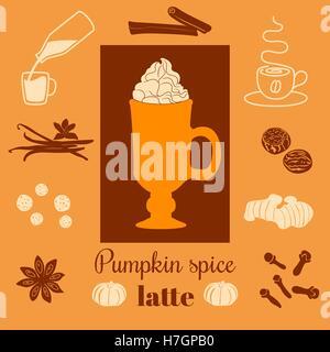 Pumpkin Spice Latte. Vektor-Illustration mit Kürbissen, Muskatnuss, Ingwer, Nelken, Zimt, Piment, Sternanis, Kaffee - Stockfoto