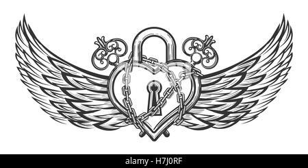 Herz geformt Lock in Ketten mit Flügeln und Vintage Keys. Vektor-Illustration im romantischen Tattoo Stil gezeichnet - Stockfoto