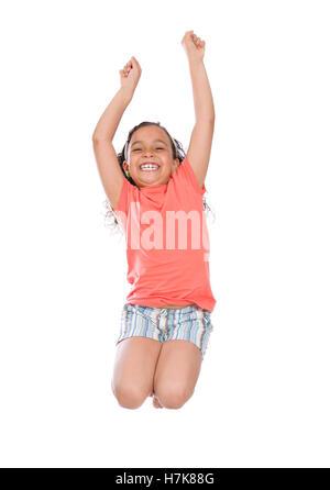 Schönes glückliches Mädchen springen isolierten auf weißen Hintergrund - Stockfoto