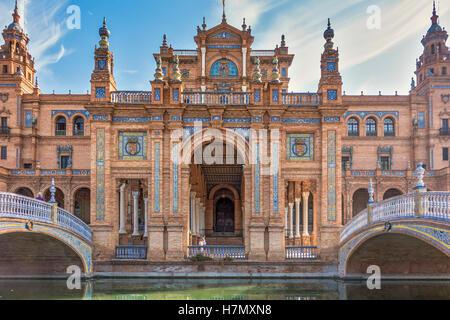 Die Plaza De Espana Gebäude Sevilla Spanien - Stockfoto
