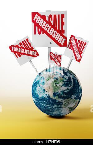 Globus mit für Verkauf Zeichen - Stockfoto