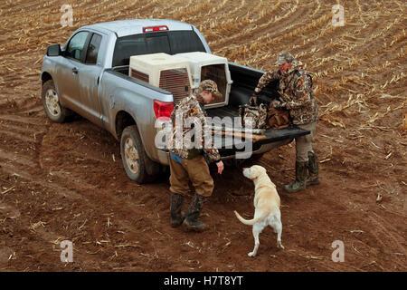 Jäger laden LKW mit gelber Labrador - Stockfoto