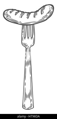 Vintage Hand gezeichnete Gabel mit gegrillten Würstchen. Vector Skizze Abbildung Besteck Werkzeug. Plakat-Restaurant - Stockfoto