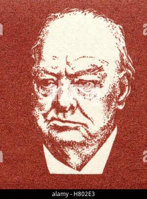 Porträt von Winston Churchill (1874-1965: der britische Premierminister) von einer deutschen Briefmarke. - Stockfoto