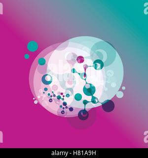 Abstrakte Moleküle entwerfen. Atome. Medizinischer Hintergrund für Banner oder Flyer. Molekulare Struktur mit Kreis. - Stockfoto