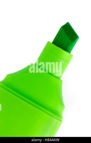 Grüne Markierung Makro Nahaufnahme, isolierte vertikale Textfreiraum - Stockfoto