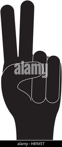 zählen zwei Finger Hand Geste Symbol Bild Vektor Illustration Design - Stockfoto