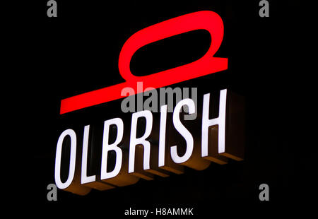 "Das Logo der Marke ""Olbrish"", Berlin. - Stockfoto"