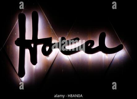 Das Logo der Marke 'Hotel', Berlin. - Stockfoto