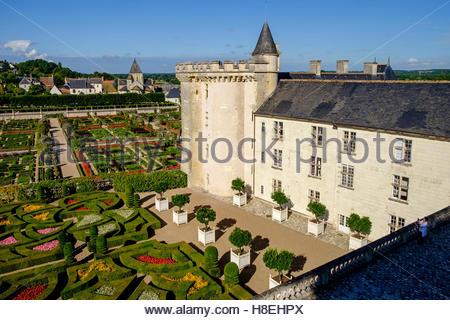 Schloss und Gärten von Villandry (Chateau de Villandry), UNESCO, Indre et Loire, Loire-Tal, Centre-Val de Loire, - Stockfoto