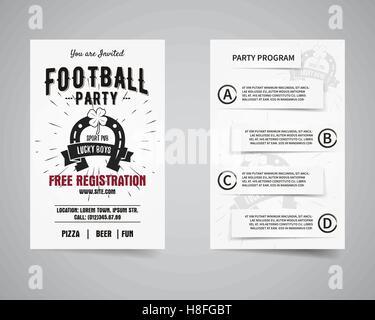 Amerikanischer Fußballparty zurück und vorderen Flyer Vorlage Design ...