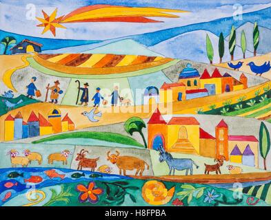 aquarell von heidrun füssenhäuser, die hirten im stall von bethlehem, maria und josef, jesus
