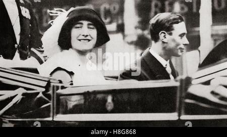 Der Herzog und die Herzogin von York Fahrt nach Waterloo nach ihrer Hochzeit im Jahr 1936.  Albert Frederick Arthur - Stockfoto