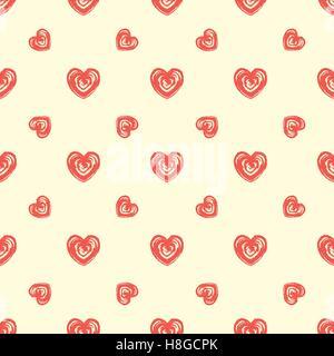 Nahtlose Muster von Herzen. Grunge, handgezeichneten Stil - Stockfoto