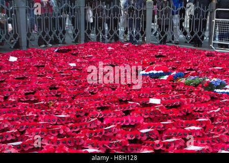London UK.13th November 2016. Große Menschenmengen anzeigen die Denkmal Kränze um den Kenotaph während Remembrance - Stockfoto