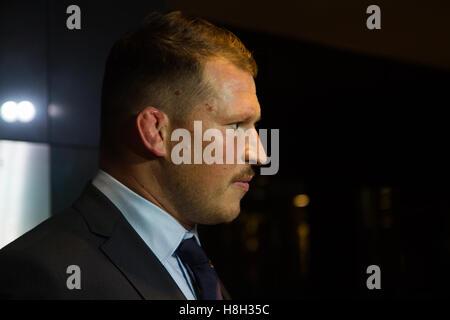 London, UK. 13. November 2016. Dylan Hartley (England Kapitän) Ankunft für den Rugby World Awards statt an das Hilton - Stockfoto
