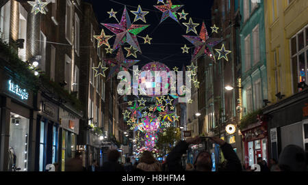 Christams Lichter in der Carnaby Street, London - Stockfoto