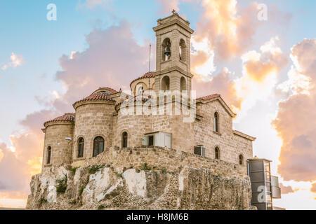 Blick auf die orthodoxe Kirche Panagia Teoskepasti siebten Jahrhundert, Paphos, Zypern.