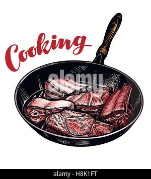 Fleisch in die Pfanne geben. Vektor-Illustration Kochen - Stockfoto