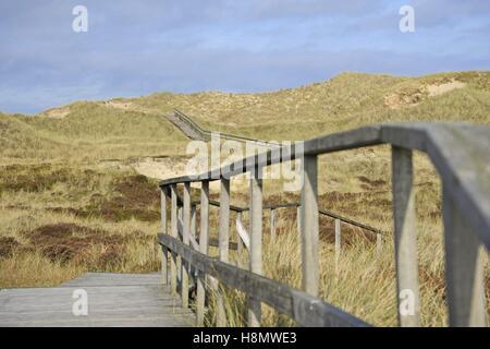 Rauf und runter führt entlang der lange Holzsteg über der Spitze der Dünen und durch Mulden auf der Insel Amrum, - Stockfoto