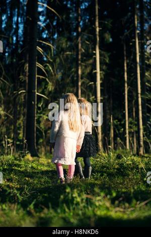 Zwei Mädchen (2-3, 4-5) stehen im Fichtenwald - Stockfoto