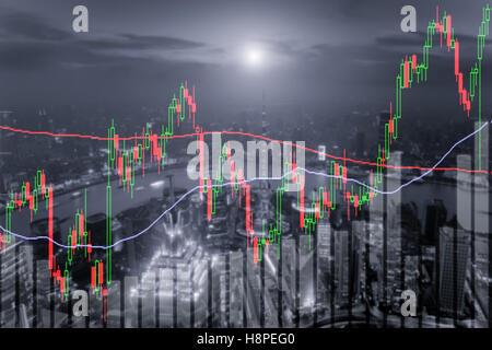 Candlestick-Chart-Muster Aufwärtstrend, Börse Shanghai Stadtbild bei Nacht Hintergrund - Stockfoto