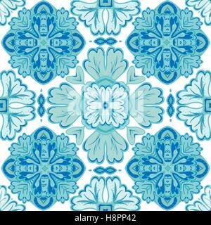 Nahtlose Patchwork-Muster von marokkanisch, portugiesischen Fliesen, Azulejo, Ornamente. Für Tapeten, Musterfüllungen, - Stockfoto
