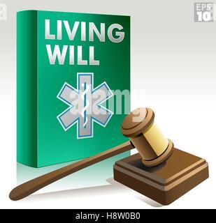 Patientenverfügung-Paket mit Hammer, soliden Block und Gesundheitswesen Richtlinie Symbol voraus - Stockfoto