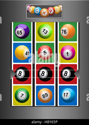 Gebürstetem Metall Fruit Machine mit Bingo-Lotto-Kugeln und ausgezeichnete Linie der schwarze Nummer 8 Ball - Stockfoto