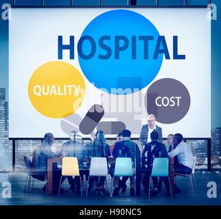 Krankenhaus Qualität Kosten im Gesundheitswesen Behandlungskonzept - Stockfoto
