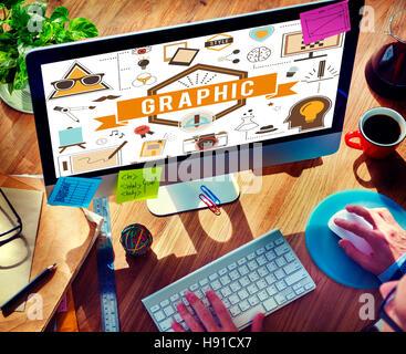 Grafikdesign kreative digitale Illustrative visuelles Konzept - Stockfoto