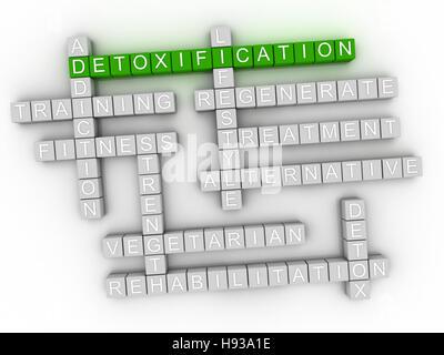 3D Entgiftung, Wort-Wolke-Konzept auf weißem Hintergrund - Stockfoto
