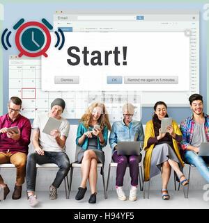 Beginnen Sie Anfang vorwärts Start Start erste Aktivierungskonzept - Stockfoto