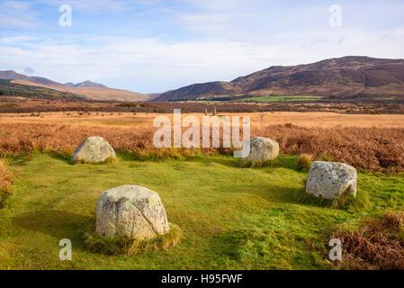 Schlafzimmereinrichtungen, Machrie Moor Stein Kreise, Isle of Arran, North Ayrshire, Schottland - Stockfoto