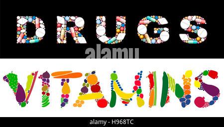 Die Worte Arzneimitteln und Vitaminen zusammen mit Pillen und Kapseln, und Obst und Gemüse. - Stockfoto