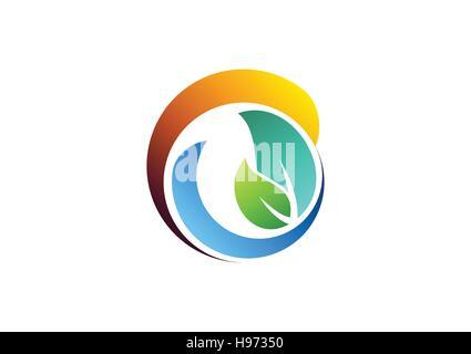 Kreis lässt Elemente Logo, Frühling-Wasser-Ökologie-Schriftzug, natürliche Schönheit Spa Symbol Symbol Vektor-design - Stockfoto